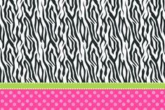 Convite Moldura e Cartão Fundo Zebra e Poá Rosa: