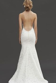 Lace Backless Spaghetti Straps Trumpet Wedding Dress is on sale.Purchase lace backless wedding dresses from wholesale supplier JuesheBridal. Wedding Robe, Backless Wedding, Wedding Attire, Wedding Gowns, Lace Wedding, Wedding Rings, Garden Wedding, Wedding Favors, Wedding Venues