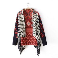 To find out about the Orange Long Sleeve Tribal Pattern Asymmetrical Cardigan at SHEIN, part of our latest Sweaters ready to shop online today! Style Boho, Style Me, Ethnic Style, Boho Fashion, Fashion Outfits, Womens Fashion, Poncho, Knit Cardigan, Aztec Cardigan