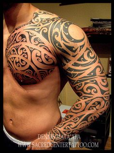 Sleeve and Chest by Dennis Mata'afa @Heather Creswell Creswell Fuentes Center Tattoo