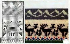 Reindeer with mountains, knit Fair Isle Knitting Patterns, Knitting Charts, Easy Knitting, Knitting Stitches, Knitting Yarn, Tejido Fair Isle, Fair Isle Chart, Knitted Animals, Crochet Chart