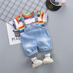 Colorful Striped Tee and Overall Shorts Set Cute Baby Boy, Cute Baby Clothes, Cute Babies, Baby Outfits Newborn, Baby Boy Outfits, Kids Outfits, Kids Dress Wear, Kids Wear, Baby Boy Fashion
