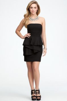Front Drape Detail Strapless Dress 4