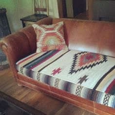 Refurbished couch cushion from a Mexican blanket. Follow us on instagram: