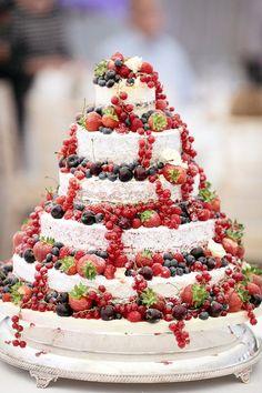 Naked wedding cake decorated with fruit