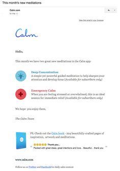 Calm retention email