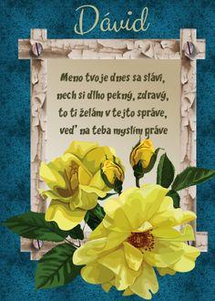 Dávid Meno tvoje dnes sa slávi, nech si dlho pekný, zdravý, to ti želám v tejto správe, veď na teba myslím práve