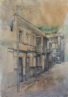 "Saatchi Art Artist Anastasiya Logvinenko; Drawing, ""Bethlemi stairs-street"" #art"