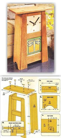 Craftsman Clock Woodworking Plans and Projects WoodArchivistcom Small Woodworking Projects, Woodworking Furniture Plans, Small Wood Projects, Teds Woodworking, Woodworking Crafts, Diy Projects, Craftsman Clocks, Wood Clocks, Wood Plans