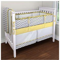 Yellow gray crib decor