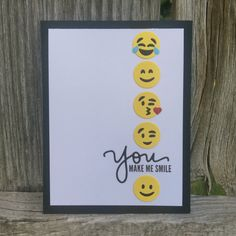 A personal favorite from my Etsy shop https://www.etsy.com/listing/452033260/handmade-emoji-card-you-make-me-smile