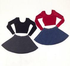 American Apparel denim skirt and crop tops