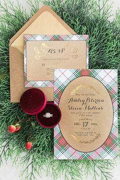 Tartan Gold Red Green Calligraphy Stationery Invitations Christmas Tree Farm Wedding Ideas http://loriblythe.com/