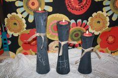 Chalkboard candle holders.