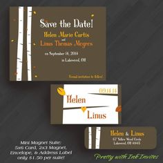 Save the Dates - Magnets or Cards - Fairytale in the Woods - (Shown in Brown, Orange and Yellow)