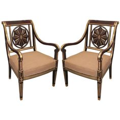 Brass-Inlaid Baltic Armchairs in the Neoclassical Manner from Russia