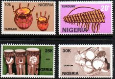 Nigeria 1989 Nigerian Musical Instruments Fine Mint SG 572 5 Scott 545 8 Condition MNH Only one post charge applied on multiple purchases Details N B