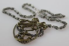 Steampunk multi-chain octopus necklace with black, silver and aged chain, nautical, by mavrickmaiden $19.00