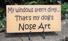 """My windows aren't dirty..That's my dog's Nose Art."" so true!!!!!"
