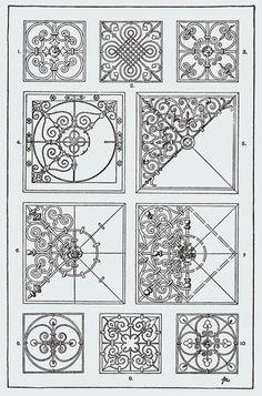 """From, """"A Handbook of Ornament"""". 1898 by Franz Sales Meyer. Arabesque, Stencils, Graph Paper Art, Tile Crafts, Dot Painting, Tile Art, Tile Patterns, Mandala Art, Islamic Art"""