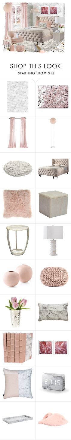 """""""Blush + Marble Bedroom"""" by fassionista ❤ liked on Polyvore featuring interior, interiors, interior design, home, home decor, interior decorating, Mr Perswall, Trademark Fine Art, Trans Globe Lighting and Dot & Bo"""