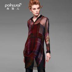 POKWAI Original Designed Full Sleeve Shirt Women 2017 Brand Clothing Stand Collar Blouse High Quality Silk Casual Print Tops