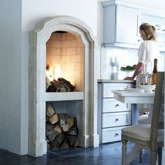 raised fire place in the kitchen!