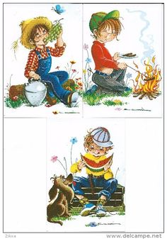 Children's drawings.boy and food, grapes.Lot 3 unused postcards.Illustrateur Scarra