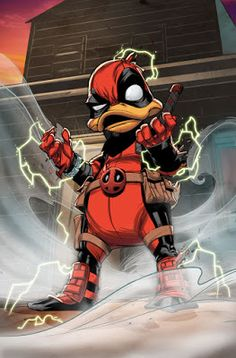 """marvel-dc-art: """"Deadpool the Duck pencil & ink by Jacopo Camagni color by Israel Silva"""" Disney Marvel, Marvel Vs, Marvel Heroes, Deadpool Pikachu, Deadpool Art, Deadpool Stuff, Deadpool Wallpaper, Juggernaut Marvel, Andre Luis"""