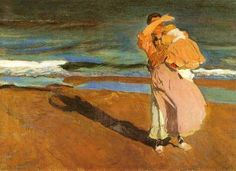 fisherwoman and her baby by Joaquin Sorolla Bastida Klimt, Pierre Bonnard, Painting People, Oil Painters, Beach Scenes, Beach Art, Mother And Child, Printmaking, Art For Kids