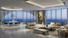 With floor-to-ceiling windows, the penthouse's living room will offer stunning…