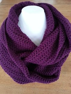 Here is a purple crocheted scarf to wrap twice around your neck. Perfect and ideal accessory for any outfit, warm and comfortable! It's made with acrylic yarn. Crocheted Scarf, Crochet Scarves, Knit Crochet, Aluminum Wire Jewelry, Purple Scarves, Purple Necklace, Cowl Scarf, Winter Trends, Winter Accessories