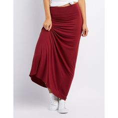 Charlotte Russe Foldover Waist Maxi Skirt ($16) ❤ liked on Polyvore featuring skirts, burgundy, fold over maxi skirt, high-waisted maxi skirt, long skirts, high-waisted skirts and charlotte russe maxi skirts