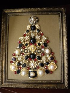 OneofaKind Framed Vintage Jewelry Art Christmas by JewelArtbyLinda, $59.99