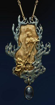 Rene Lalique Jeanne d'Arc pendant - 1900. Gold, sapphire, enamel. ALBION ART Collection.
