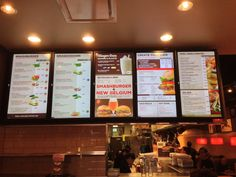 Wall mounted digital menu boards for restaurants Digital Menu Boards, Digital Signage, Food Trucks, Belgium Food, Restaurants, Menu Design, Design Ideas, Sign Design, Food Design