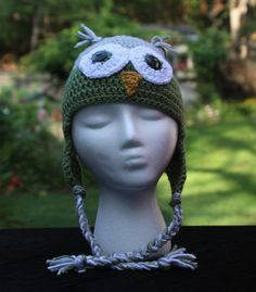 Green and Grey Owl Childs Crochet Hat, Owl Hat, Crochet Kids Hat, Crochet Kids Photo Prop, Owl Ear Flap Hat, Custom Colors, Hat For Kids by ArtfullyCreated4U on Etsy