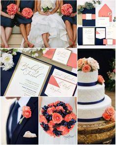 Navy and coral pocket wedding invitations - Wedding ideas - Hochzeit Ideen Coral Navy Weddings, Coral Wedding Colors, Spring Wedding Colors, Wedding Color Schemes, Blue Wedding, Dream Wedding, Elegant Wedding, Orange Weddings, Rustic Wedding