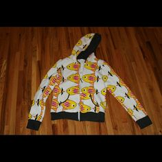 3 for $6  Fun fish hoodie Fun printed hoodie. Super comfy and warm. Fits like between a small and a medium.  In great shape. Talk to me about bundles etc. Poolgirl Sweaters