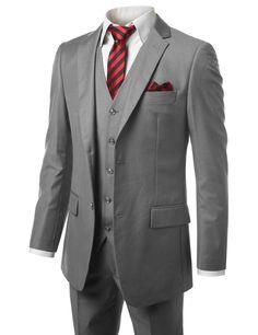 MONDAYSUIT Men's Modern Fit 3-Piece Suit Blazer Jacket Tux Vest & Trousers at Amazon Men's Clothing store: