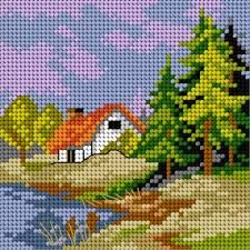 Vintage French needlepoint tapestry canvas embroidery - The Souvenir, after Fragonard Cross Stitch House, Cross Stitch Cards, Cross Stitching, Cross Stitch Embroidery, Embroidery Patterns, Hand Embroidery, Funny Cross Stitch Patterns, Cross Stitch Designs, Cross Stitch Landscape
