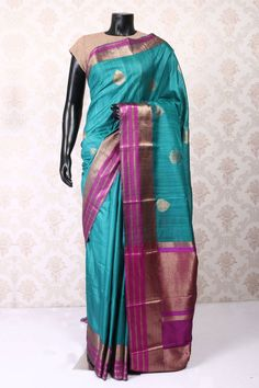 Sea blue dual shade with magenta and copper banarasi silk stylish saree with…