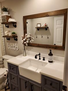 Shiplap Reclaimed Wood Mirror Shown in Provincial, 4 Sizes & 20 Stains - Rustic Mirror - Bathroom Vanity Mirror - Farmhouse Style Mirror in 2020 Bathroom Interior, Home Interior, Bathroom Counter Decor, Wood Bathroom Mirror, Master Bathroom, Bathroom Mirror Makeover, Rustic Bathroom Decor, Warm Bathroom, Interior Design