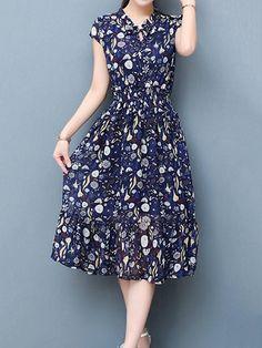 Print Loose Hem Short Sleeve Women Chiffon Dresses