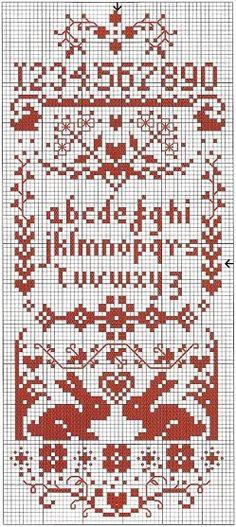 Cross Stitch Red Sampler
