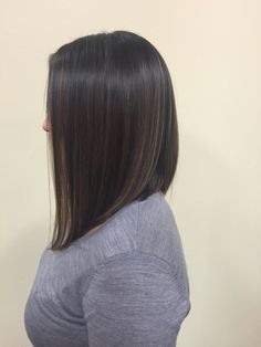 A-line with subtle balyage highlights #hair #balyage #aline #bob #brunette #color