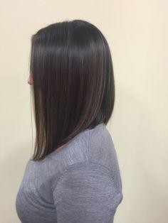 A-line with subtle balyage highlights #hair #balyage #aline #bob #brunette #color