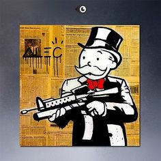 "NEWSPAPER GUN Alec monopoly wall street arts canvas print POP ART decor 24x24"""