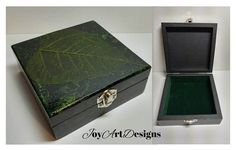 Leaf Skeleton Jewelry Box Leaf Decor Unique Leaf Skeleton Art Keepsake Box Up Cycled Green Black Hinged Wood Box Velvet Lined Jewelry Box