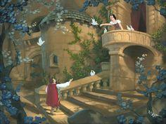 """A Song for my Love"" By Rob Kaz - Original Oil on Canvas, 18x24.  #Disney #SnowWhite #DisneyFineArt #RobKaz"